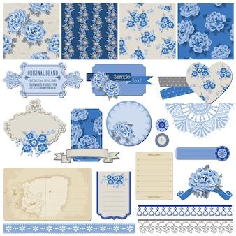 Elementos de design de álbum de recortes flores vintage