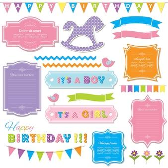 Elementos de design de aniversário
