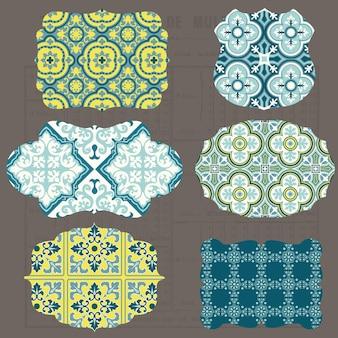Elementos de design de azulejos vintage para álbum de recortes - tags e molduras antigas