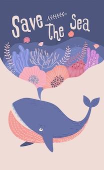 Elementos de design de baleias e plantas submarinas