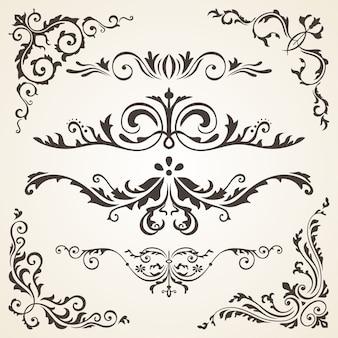 Elementos de design de caligrafia e decoração de página.