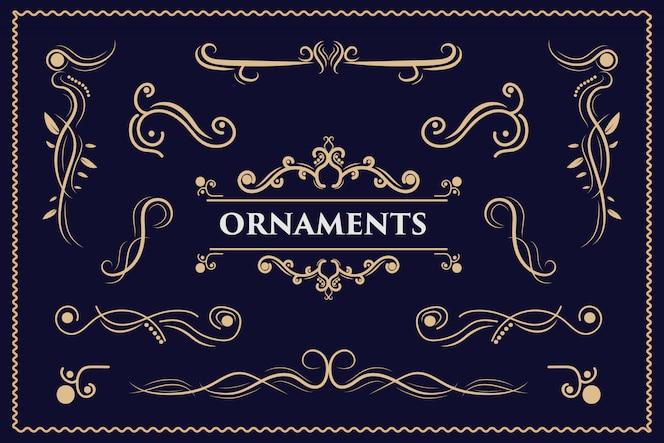 Elementos de design de caligrafia ornamento vintage redemoinhos e pergaminhos decorações ornadas elementos de design