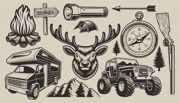 Elementos de design de camping