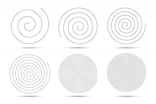 Elementos de design de círculos em espiral.