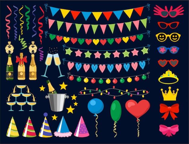 Elementos de design de festa de aniversário. coleção de festa de aniversário