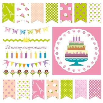 Elementos de design de festa de aniversário.