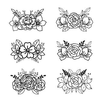 Elementos de design de flores em preto e branco