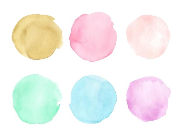 Elementos de design de forma de círculo pintados à mão em aquarela. padrão de formas redondas.
