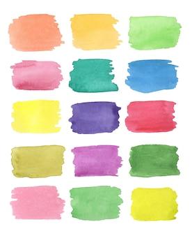 Elementos de design de forma retangular pintada à mão em aquarela