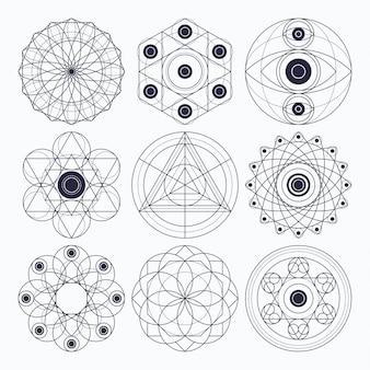 Elementos de design de geometria sagrada. esboço original (traço não expandido).