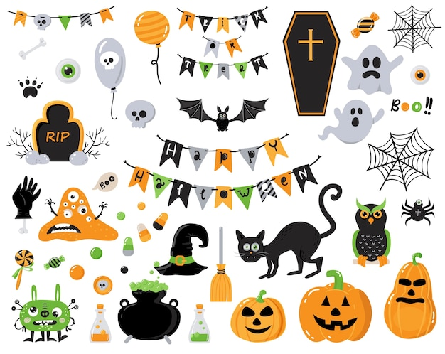 Elementos de design de halloween feliz.