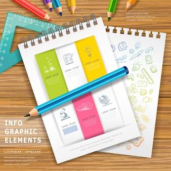 Elementos de design de infográfico de educação com lápis e cadernos