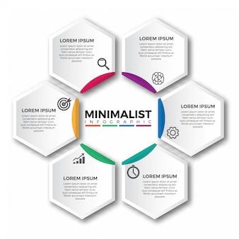 Elementos de design de infográfico de hexágono circular
