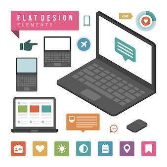 Elementos de design de infográfico de ilustração vetorial plana