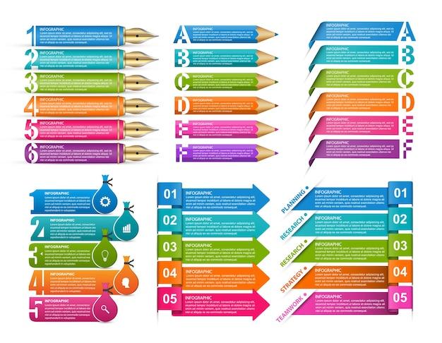 Elementos de design de infográficos de coleção infográficos para negócios