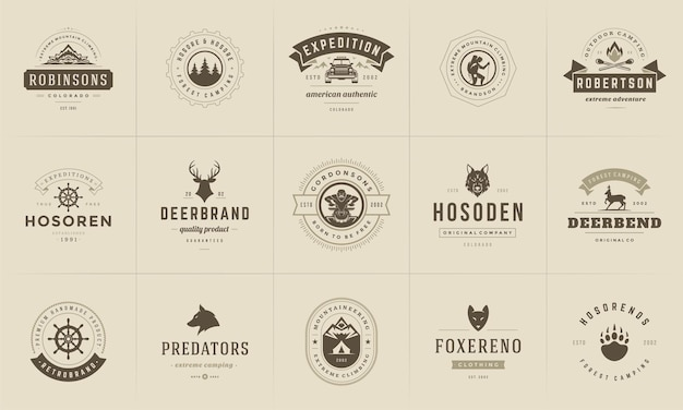 Elementos de design de modelos de logotipos e emblemas de acampamento