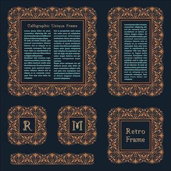 Elementos de design de molduras e emblemas