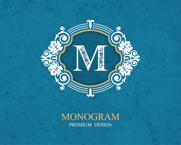Elementos de design de monograma, modelo caligráfico gracioso, emblema de carta m,