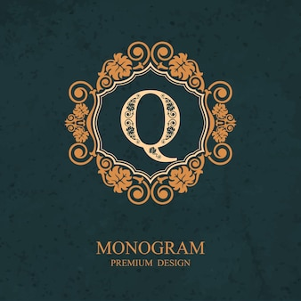 Elementos de design de monograma, modelo caligráfico gracioso, emblema de carta q,
