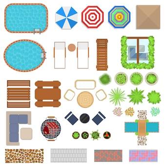 Elementos de design de paisagem de desenho animado definem estilo plano de vista superior para casa, hotel ou resort. ilustração vetorial