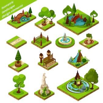 Elementos de design de paisagem isométrica