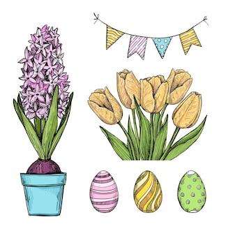 Elementos de design de páscoa: ovos, guirlanda, tulipas, jacinto