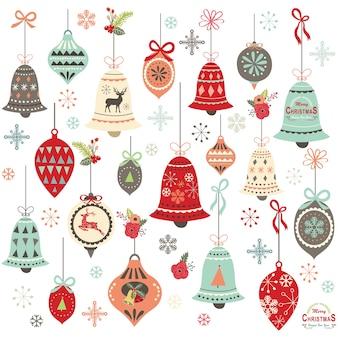 Elementos de design de sino de natal vintage