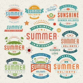 Elementos de design de verão e símbolos rótulos tipográficos e emblemas