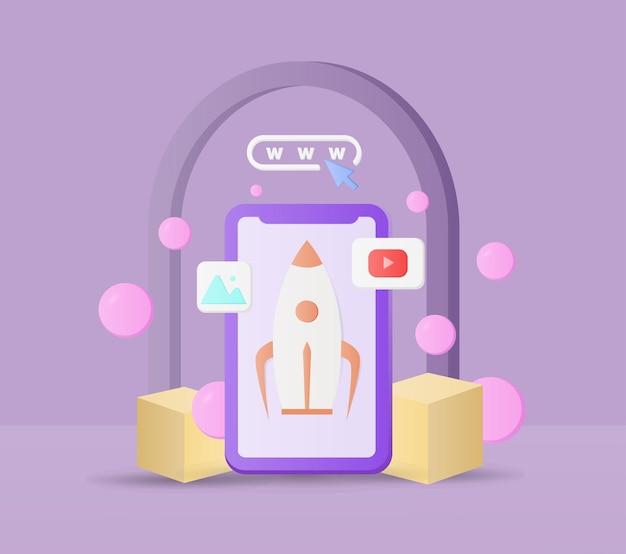 Elementos de design de vetor 3d de marketing de vendas
