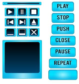 Elementos de design de vetor de coleção de botões de player de mídia