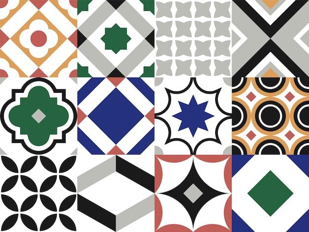 Elementos de design decorativo vintage de padrão de telha sem emenda