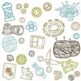 Elementos de design desenhados à mão de doodles de kit de costura