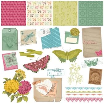 Elementos de design do álbum de recortes borboletas vintage