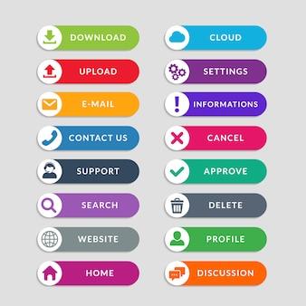Elementos de design do botão web plana. design simples de botões da interface do usuário da web