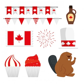 Elementos de design do dia do canadá, set vector