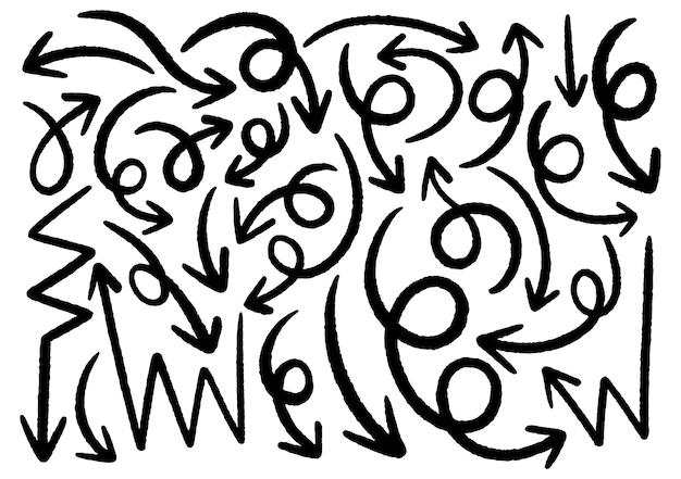 Elementos de design do doodle de mão desenhada. mão desenhadas setas, quadros, bordas, ícones e símbolos. elementos de infográficos do estilo dos desenhos animados. fundo branco.