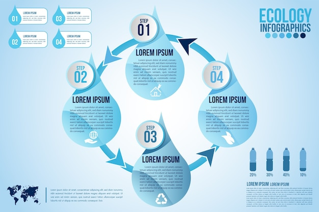 Elementos de design do infográfico eco água azul processam 4 etapas ou peças de opções com gota d'água