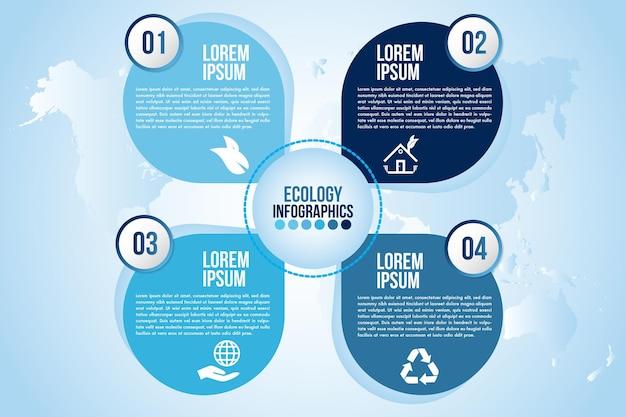Elementos de design do infográfico eco água azul processam etapas ou opções de peças com gota d'água