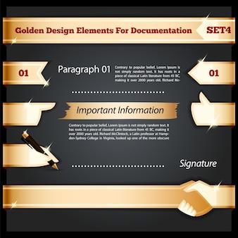 Elementos de design dourado para conjunto de documentação