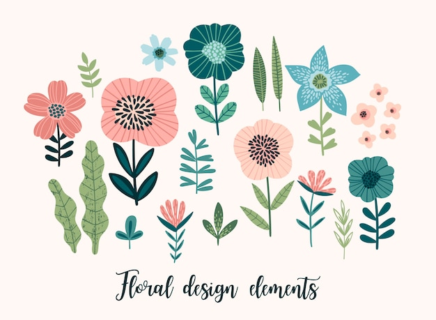 Elementos de design floral vetor.