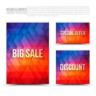Elementos de design: flyer, cartão, banner azul e vermelho