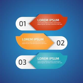 Elementos de design infográfico com 3 cores diferentes