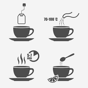 Elementos de design isolados de instrução de preparação de chá
