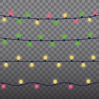 Elementos de design isolados de luzes de natal. luzes brilhantes para design de cartão de férias de natal. guirlandas de natal, festa, decorações de aniversário