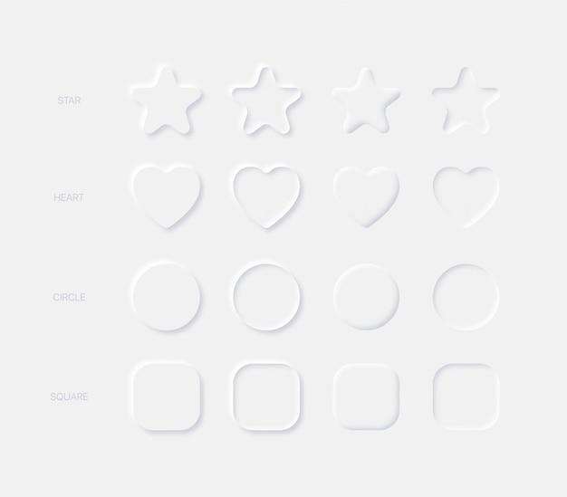 Elementos de design leve neumórfico estrela arredondada coração círculo quadrado em diferentes variações em fundo claro