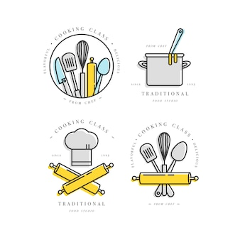 Elementos de design linear de aula de culinária, conjunto de emblemas de cozinha, símbolos, ícones ou rótulos de estúdio de comida