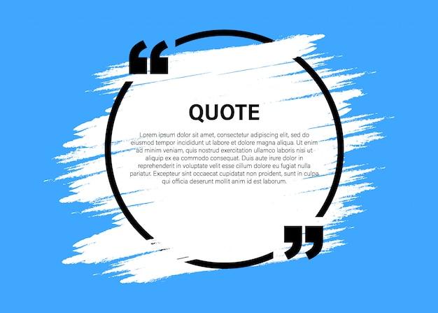 Elementos de design moderno citação bloco na moda. modelo de quadro de texto criativo citação e comentário.