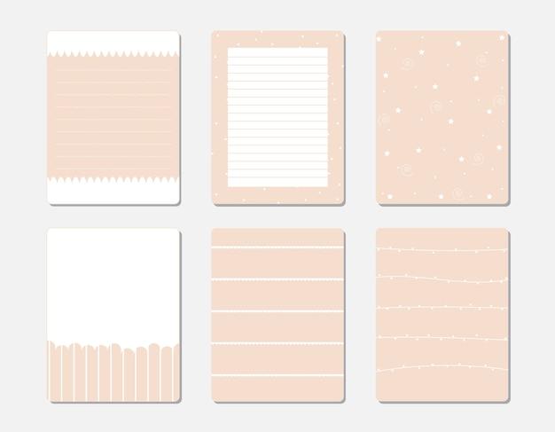 Elementos de design para notebook, diário, adesivos e outro modelo.
