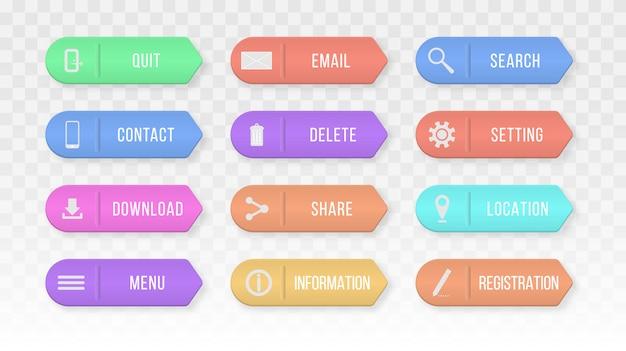 Elementos de design para site ou aplicativo. botões retangulares coloridos da web entre em contato conosco.