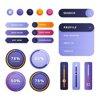 Elementos de design ui / ux gradiente